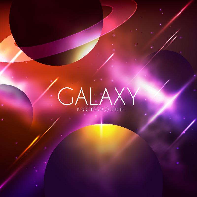 多彩银河背景矢量素材(EPS/AI)