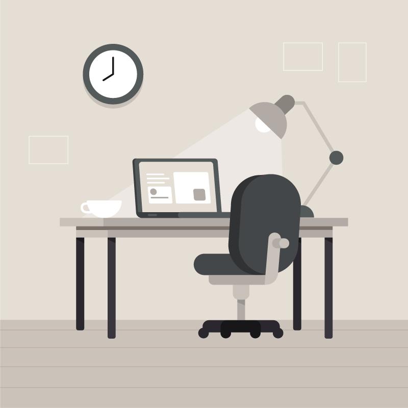 现代办公桌矢量素材(EPS/AI)