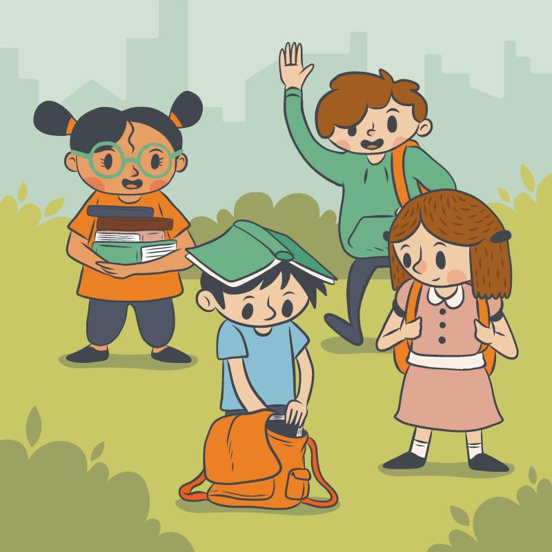 快乐返校的孩子们矢量素材(EPS/AI/免扣PNG)