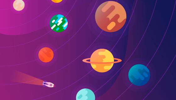 多彩的太阳系矢量素材(EPS/AI)