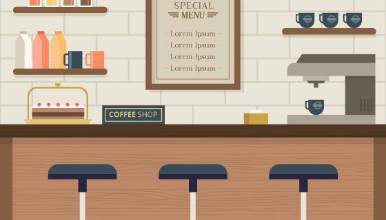 现代咖啡馆室内设计矢量素材(EPS/AI)