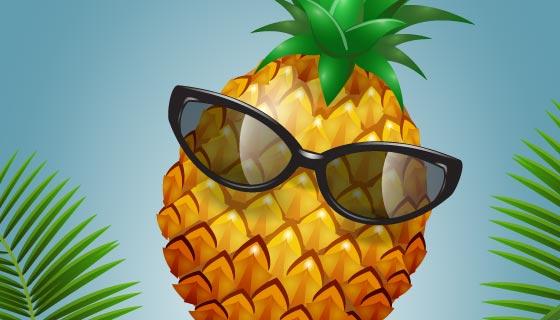 夏日戴眼镜的菠萝矢量素材(EPS)