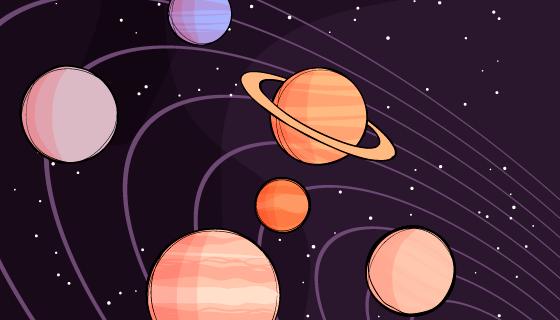手绘太阳系矢量素材(EPS/AI)