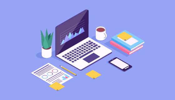 现代办公桌矢量素材(EPS/AI/PNG)