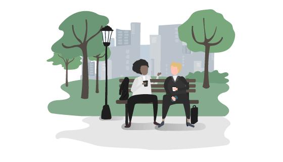 长椅上交谈的商务人士矢量素材(EPS/AI/PNG)