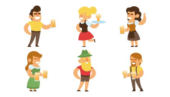 庆祝啤酒节的人们矢量素材(EPS/AI/PNG)