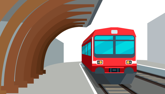 红色火车和站台矢量素材(EPS/AI)