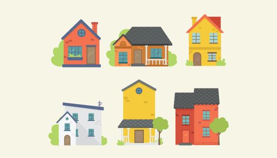 五颜六色的房子矢量素材(EPS/AI/PNG)