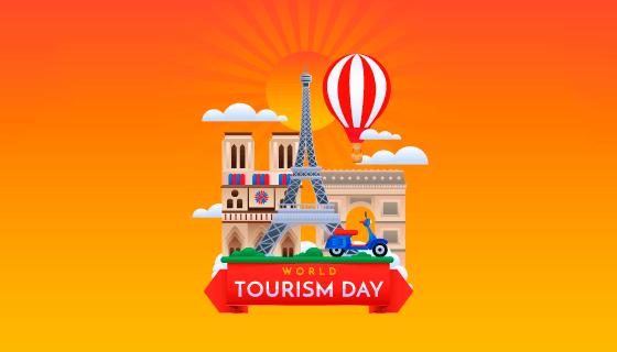 世界旅游日背景矢量素材(EPS/AI)