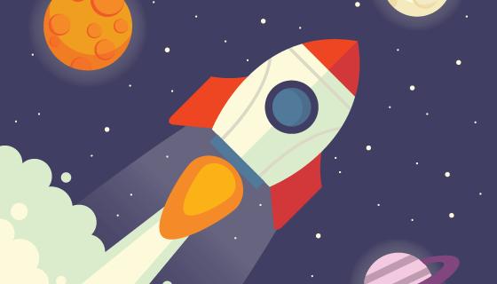 飞翔在行星之间的火箭矢量素材(EPS/AI)