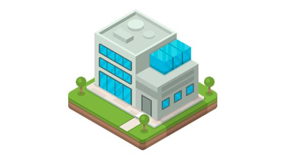 扁平风格办公楼矢量素材(EPS/AI/PNG)