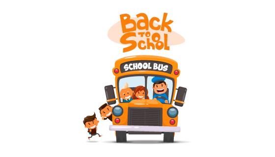 校车和孩子们矢量素材(EPS/AI/PNG)