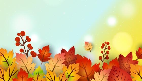 彩色叶子秋天背景矢量素材(EPS)