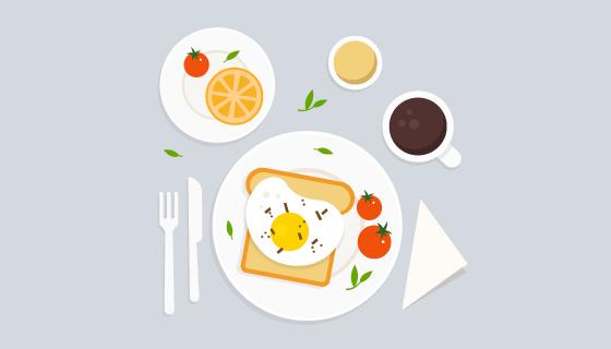 俯视美味的早餐矢量素材(EPS/AI/PNG)