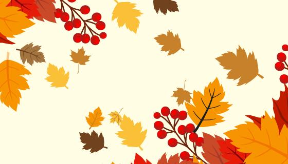秋叶和果实秋天背景矢量素材(EPS)