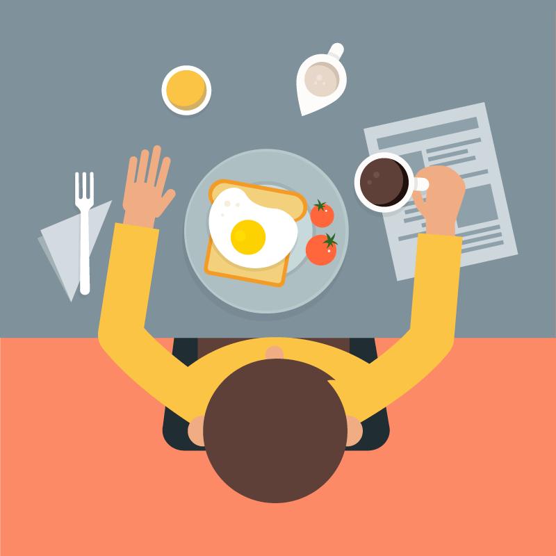 俯视视角美味的食物矢量素材(EPS/AI)