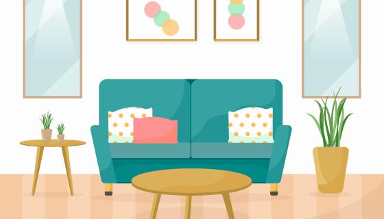扁平现代家居设计矢量素材(EPS/AI)