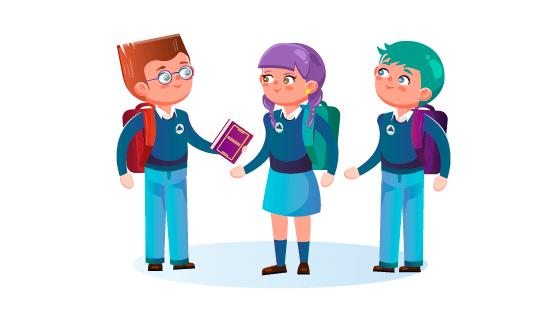 可爱的学生们矢量素材(EPS/AI/PNG)