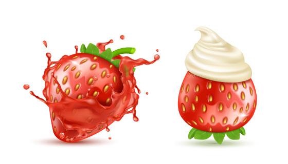 逼真的草莓矢量素材(EPS/PNG)
