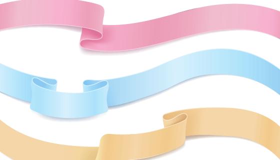 漂亮多彩的丝带矢量素材(EPS/PNG)