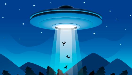 UFO入侵绑架矢量素材(EPS/AI)
