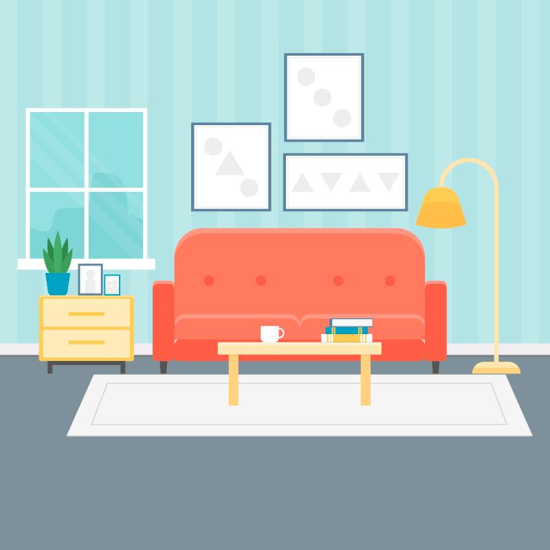 现代舒适客厅矢量素材(EPS/AI)