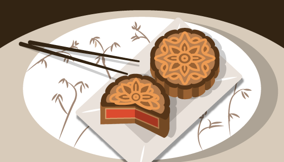 月饼设计中秋节背景矢量素材(EPS/AI)