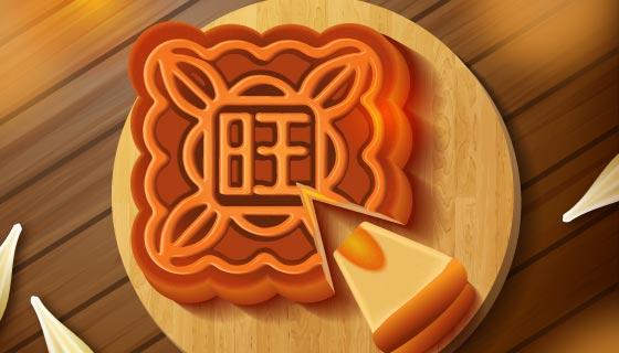 逼真的中秋节月饼矢量素材(EPS/AI)