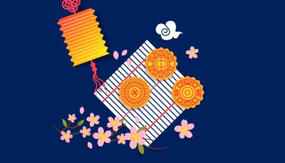 中秋节背景矢量素材(EPS/AI)