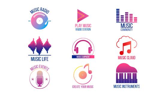 渐变风格音乐图标矢量素材(EPS/AI/PNG)