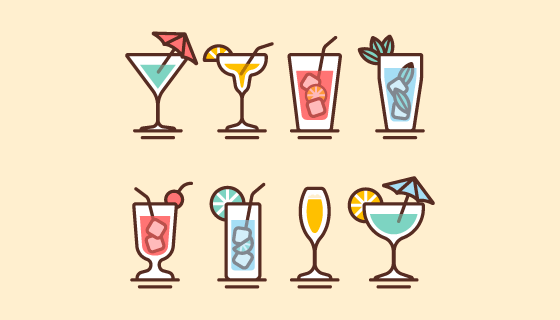 扁平风格鸡尾酒矢量素材(EPS/AI/PNG)
