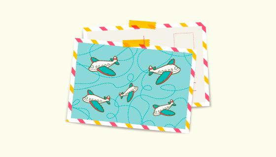 飞机设计的旅行明信片矢量素材(EPS/AI)