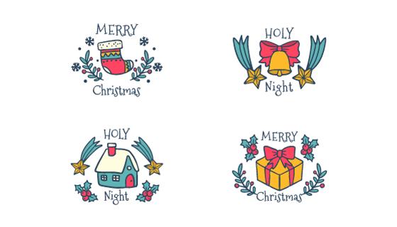 可爱的手绘圣诞节元素矢量素材(EPS/AI/PNG)
