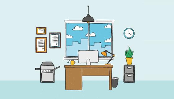 手绘办公室室内设计矢量素材(EPS/AI)