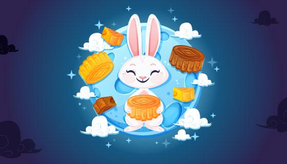 中秋节兔子月饼背景矢量素材(EPS/AI)