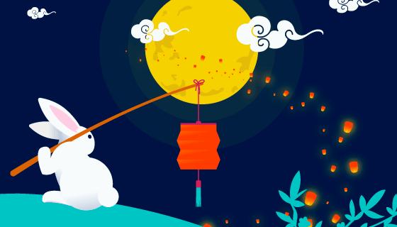 创意中秋节背景矢量素材(EPS/AI)