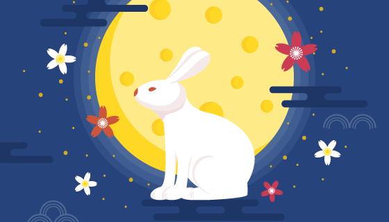 兔子和月亮设计的中秋节背景矢量素材(EPS/AI)