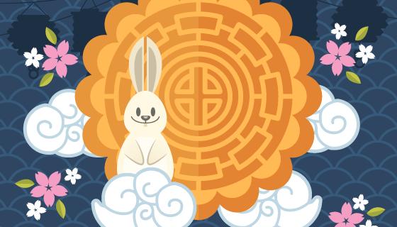 兔子和月饼设计的中秋节背景矢量素材(EPS/AI)