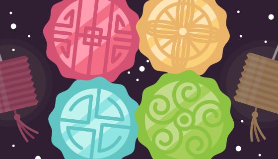 彩色月饼中秋节背景矢量素材(EPS/AI)