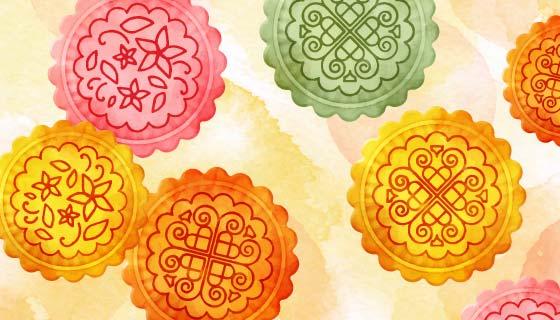 水彩彩色中秋节月饼矢量素材(EPS/AI)
