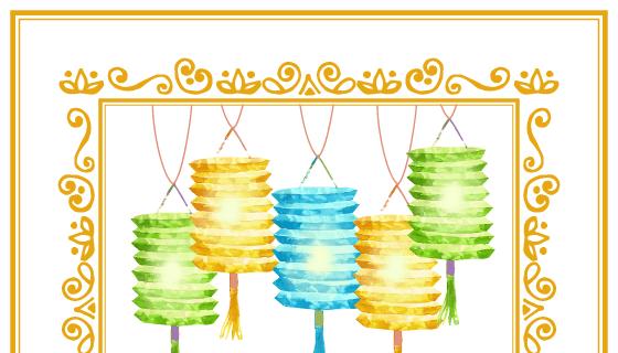 多彩灯笼中秋节背景矢量素材(EPS/AI)