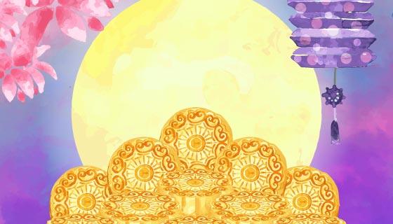 水彩风格中秋节背景矢量素材(EPS/AI)