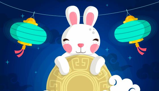 兔子月饼灯笼中秋节背景矢量素材(AI/EPS)