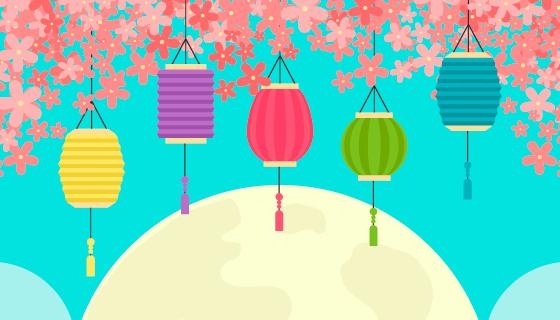 多彩灯笼和月亮中秋节背景矢量素材(AI/EPS)