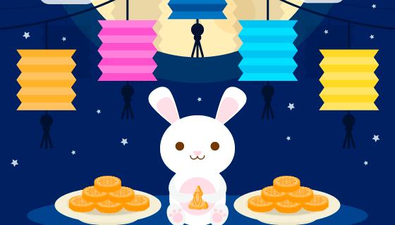 可爱兔子月饼设计中秋节背景矢量素材(AI/EPS)