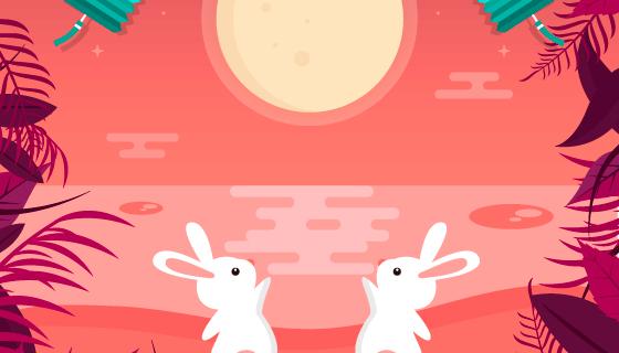 可爱兔子望月设计中秋节矢量素材(AI/EPS)