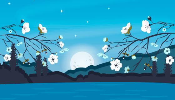 蓝色夜晚中秋节背景矢量素材(AI/EPS)