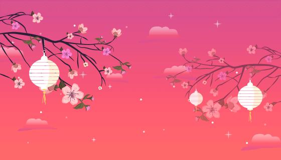 美丽中秋节夜景矢量素材(AI/EPS)