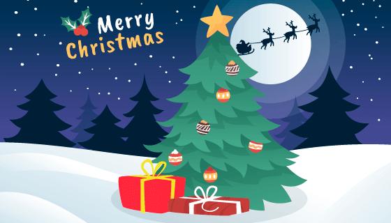 扁平风格圣诞节背景矢量素材(EPS/AI)
