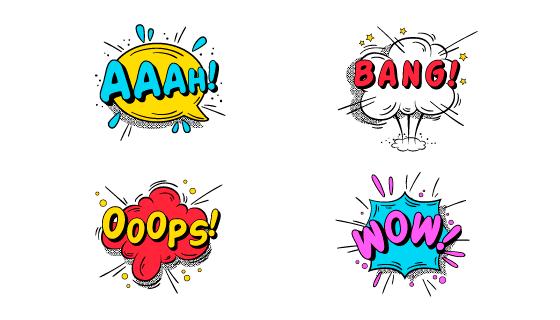五彩缤纷的漫画泡泡矢量素材(EPS/AI)